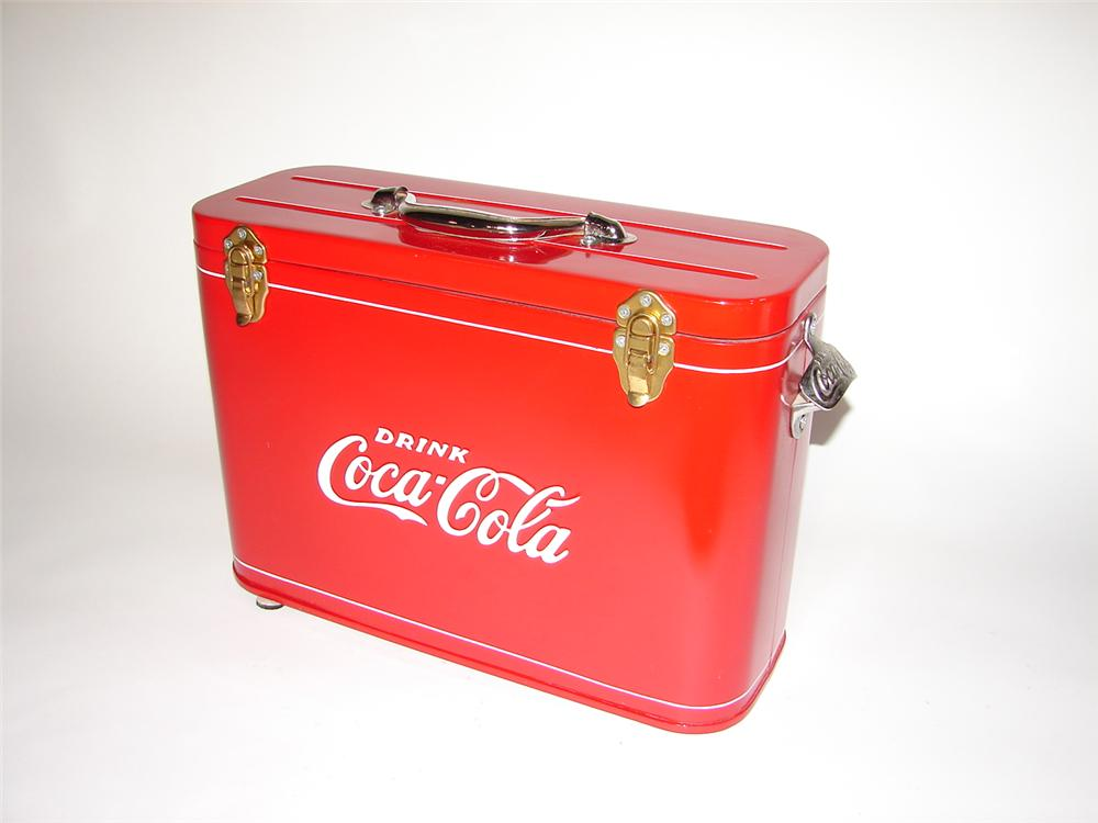 Hard to find and wonderfully restored 1950s Coca-Cola Airline Cooler. - Front 3/4 - 116559