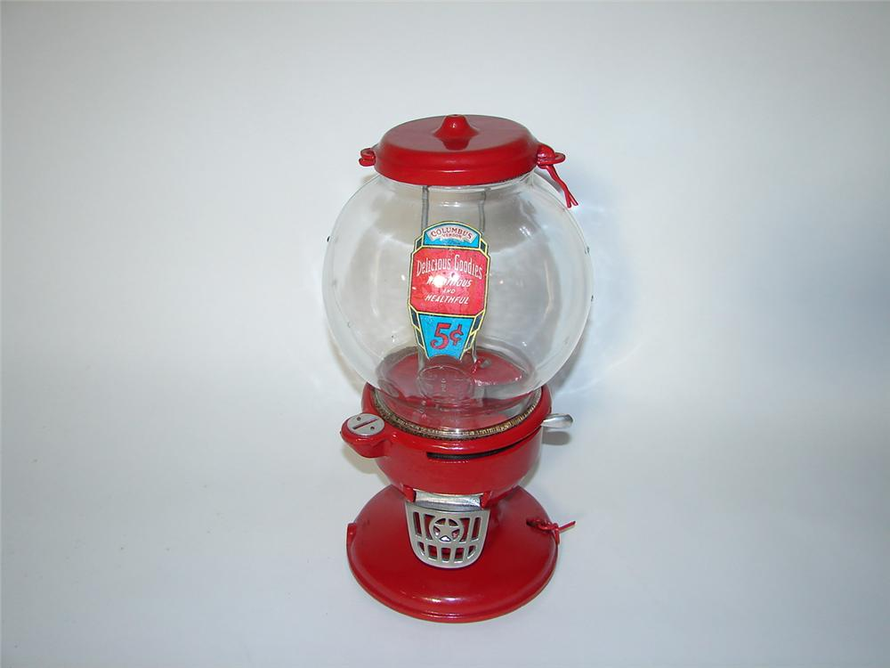 Outstanding 1930s Columbus 5 cent peanut machine with glass dome. - Front 3/4 - 116563