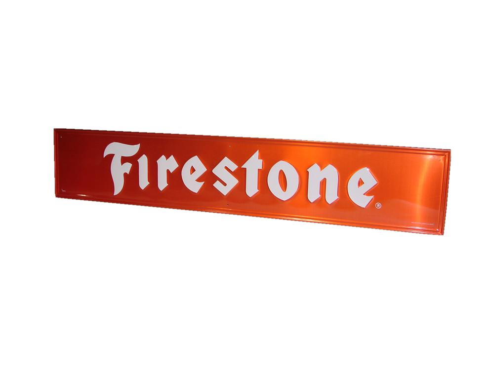 N.O.S. Firestone Tires horizontal embossed tin garage sign. - Front 3/4 - 116564