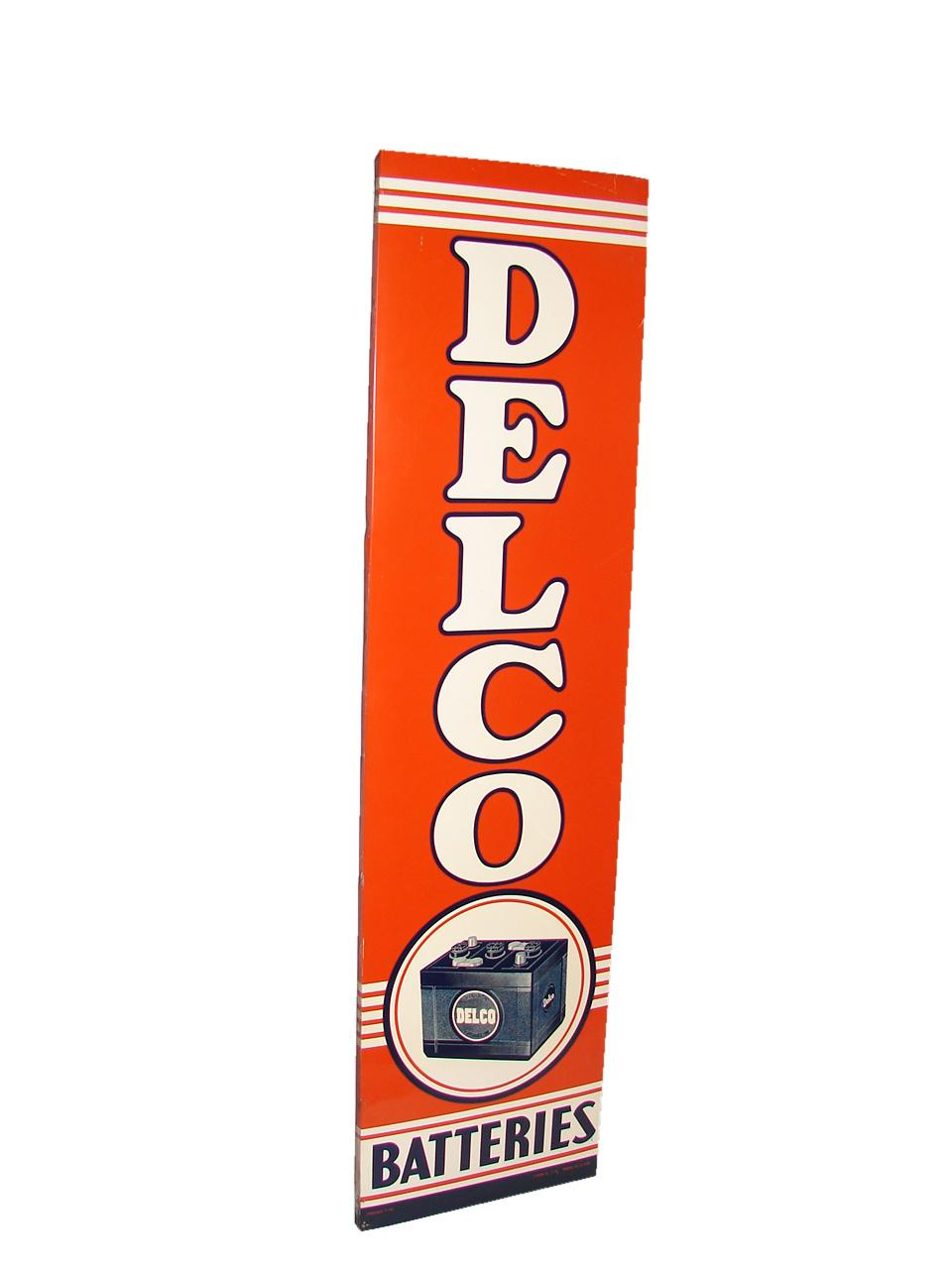 Highly desirable N.O.S. 1950s Delco Batteries wood framed garage sign with over-sized battery graphic. - Front 3/4 - 116565