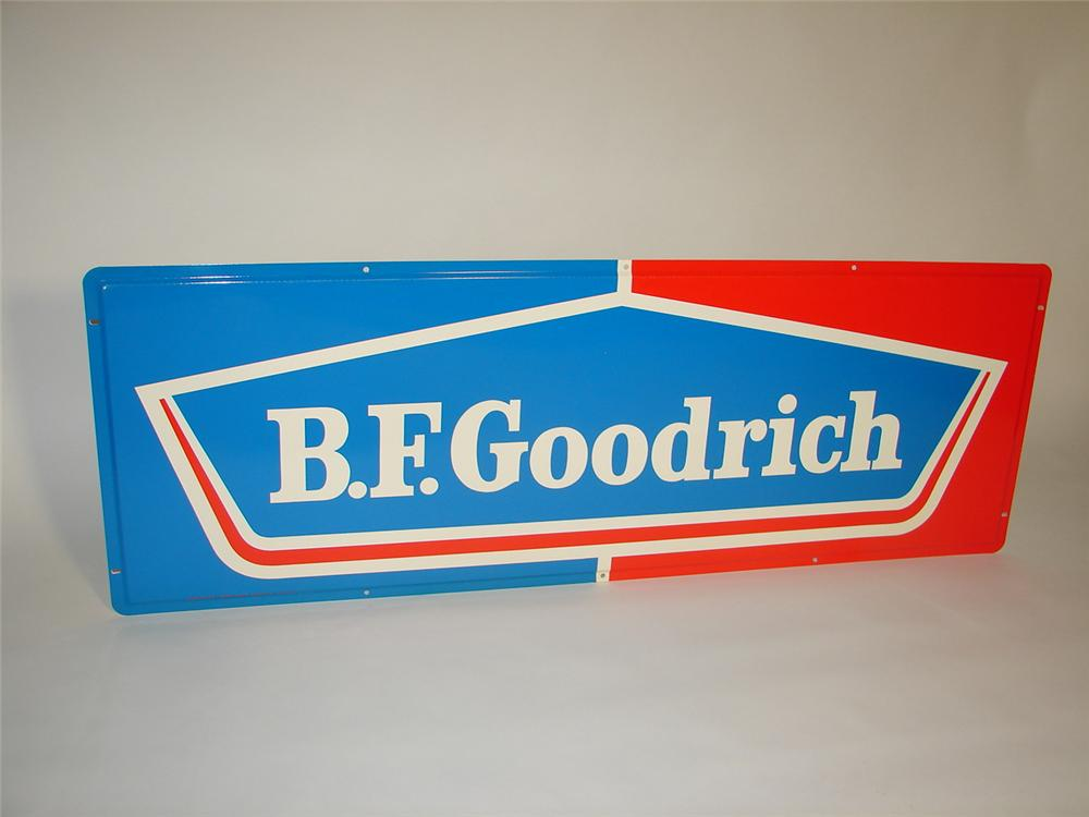 N.O.S. 1960s BF Goodrich Tires horizontal tin garage sign. - Front 3/4 - 116566