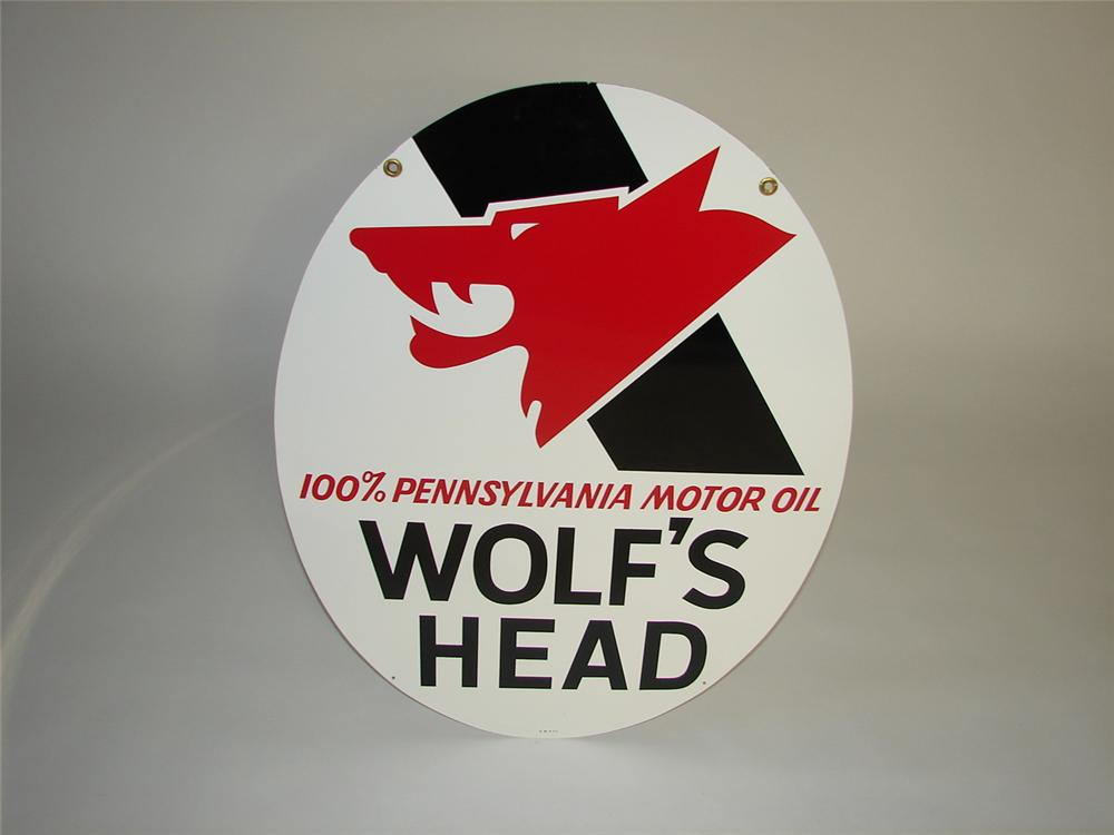 N.O.S. vintage Wolfs Head Motor Oil double-sided tin garage sign. - Front 3/4 - 116571