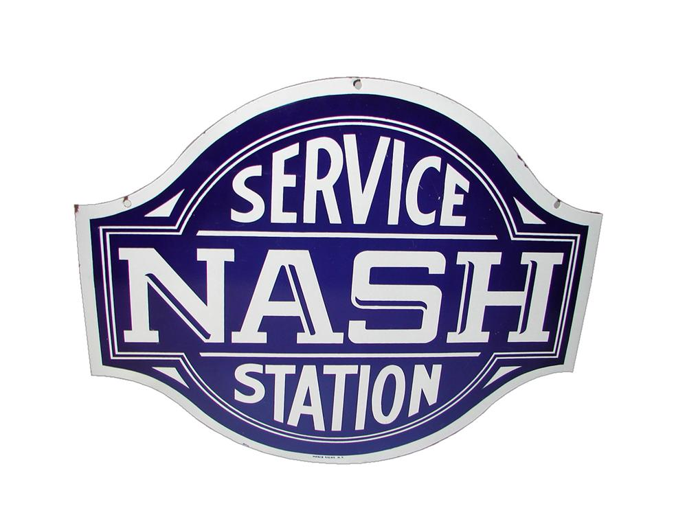 Rare N.O.S. 1930s Nash Automobiles Service Station double-sided porcelain dealership sign. - Front 3/4 - 116578