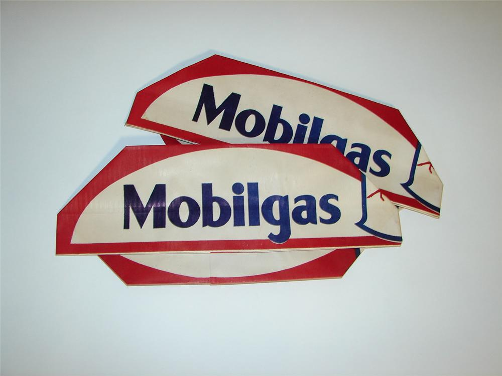 Lot of two N.O.S. 1930s-40s Mobilgas service department mechanic hats. - Front 3/4 - 116580