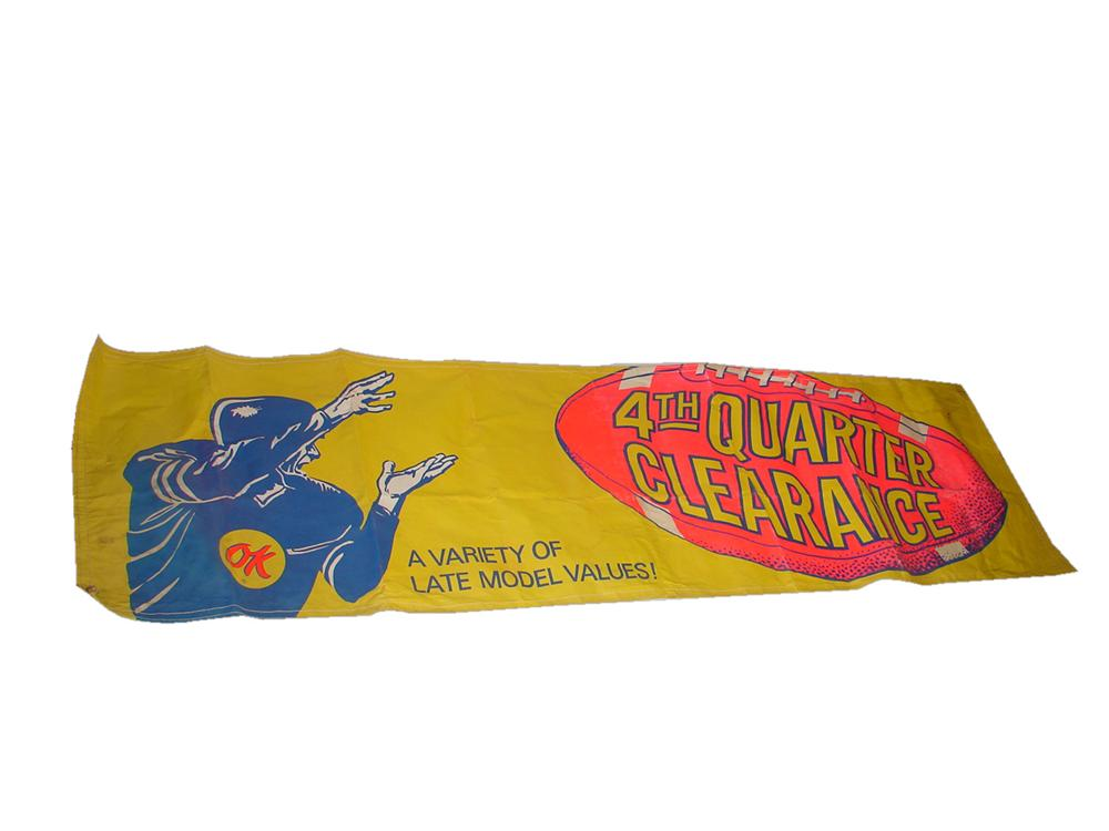 "Nifty 1950s Chevrolet OK Used Cars ""4th Quarter Clearance"" football motif dealership banner. - Front 3/4 - 116585"