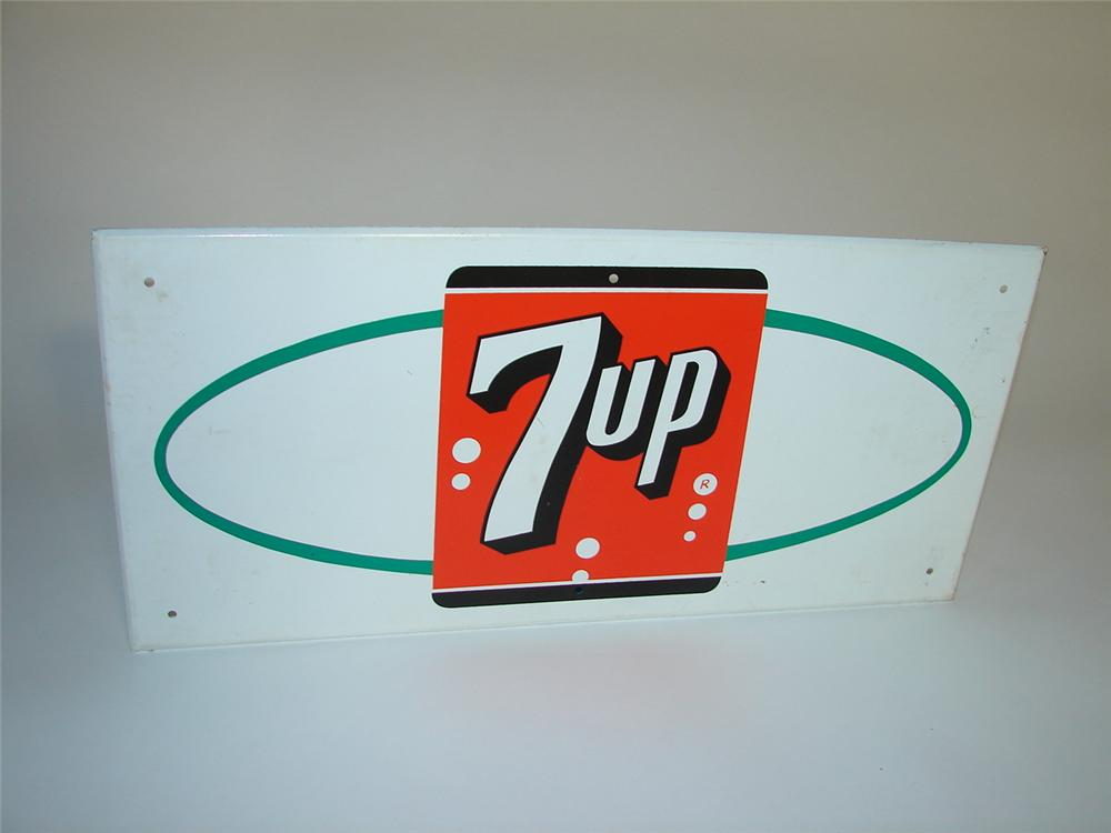 N.O.S. 1950s 7-up Soda tin sign with logo. - Front 3/4 - 116586