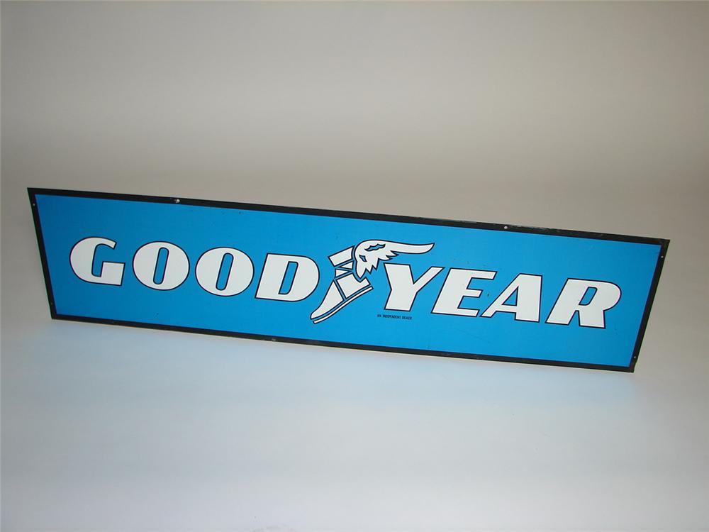Vintage Goodyear Tires double-sided tin garage sign with winged-foot logo. - Front 3/4 - 116590
