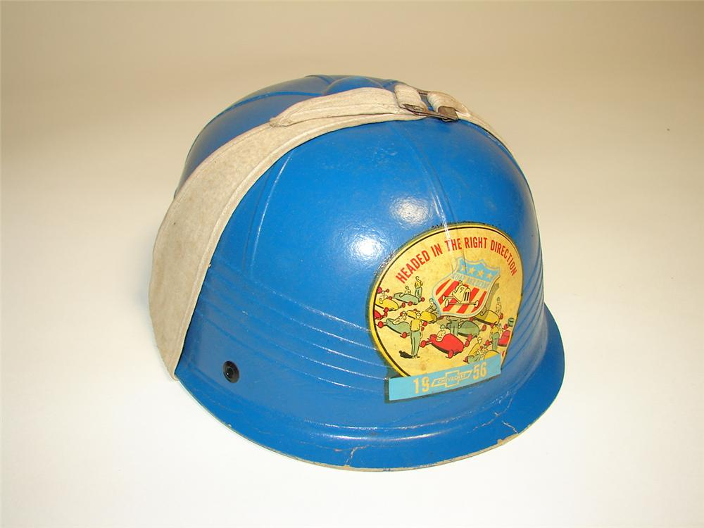 Rarely seen 1956 Chevrolet Soap Box Derby race helmet. - Front 3/4 - 116592