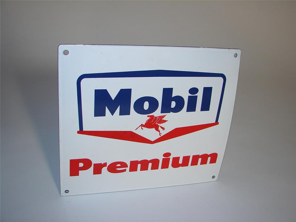 N.O.S. late 1950s Mobil Premium Gasoline porcelain pump plate sign with Pegasus logo. - Front 3/4 - 116593