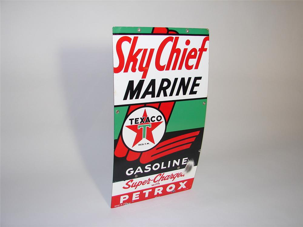 Scarce 1958 Texaco Sky Chief Marine with Petrox porcelain pump plate sign. - Front 3/4 - 116594