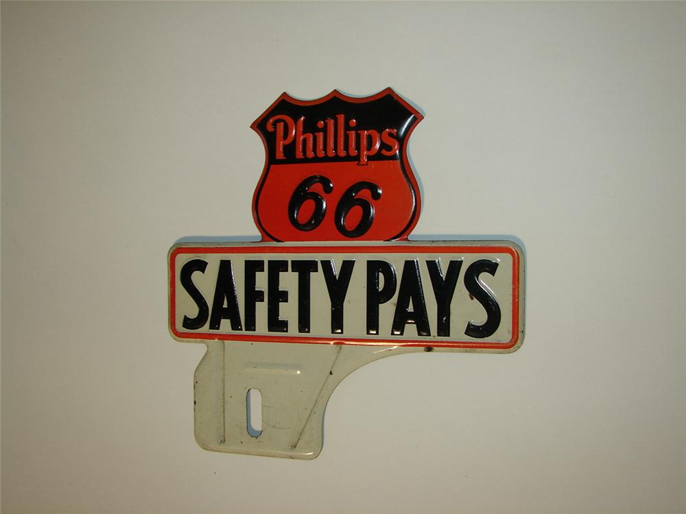 Very clean 1930s Phillips 66 Safety Pays license plate attachment sign. - Front 3/4 - 116598