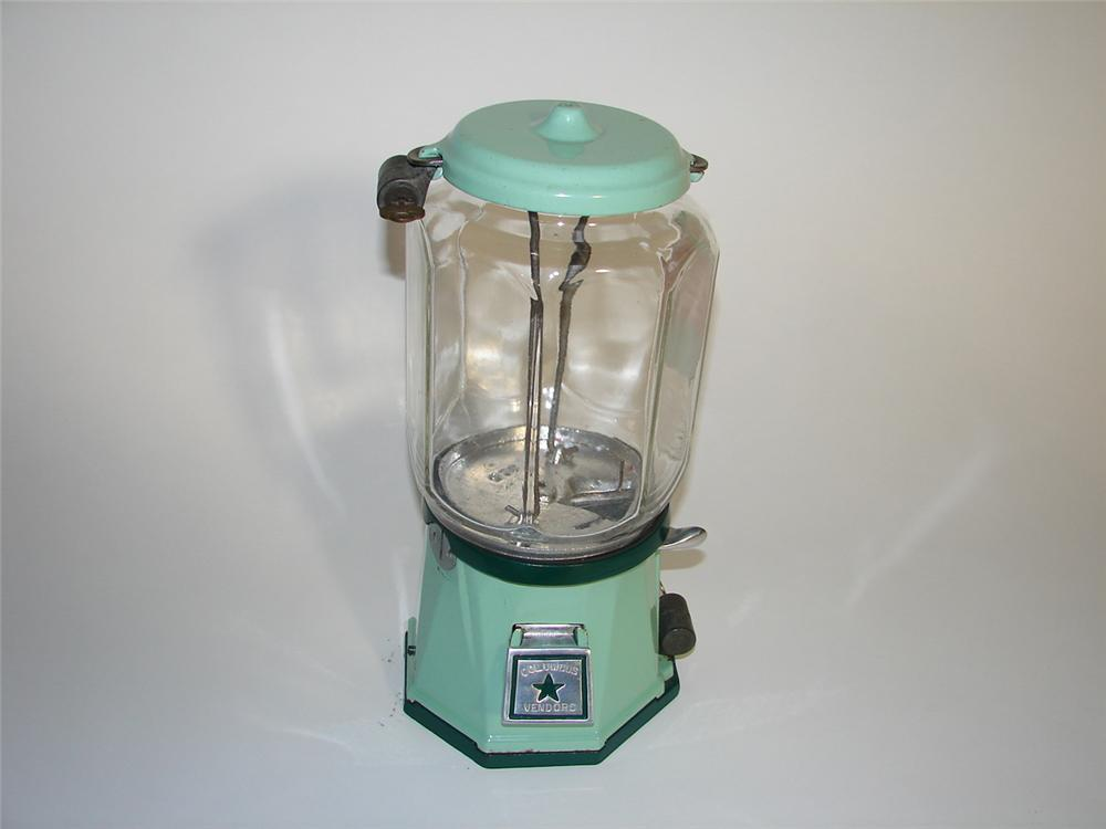 Gorgeous 1930s Columbus one cent peanut machine with porcelain finish. - Front 3/4 - 116604