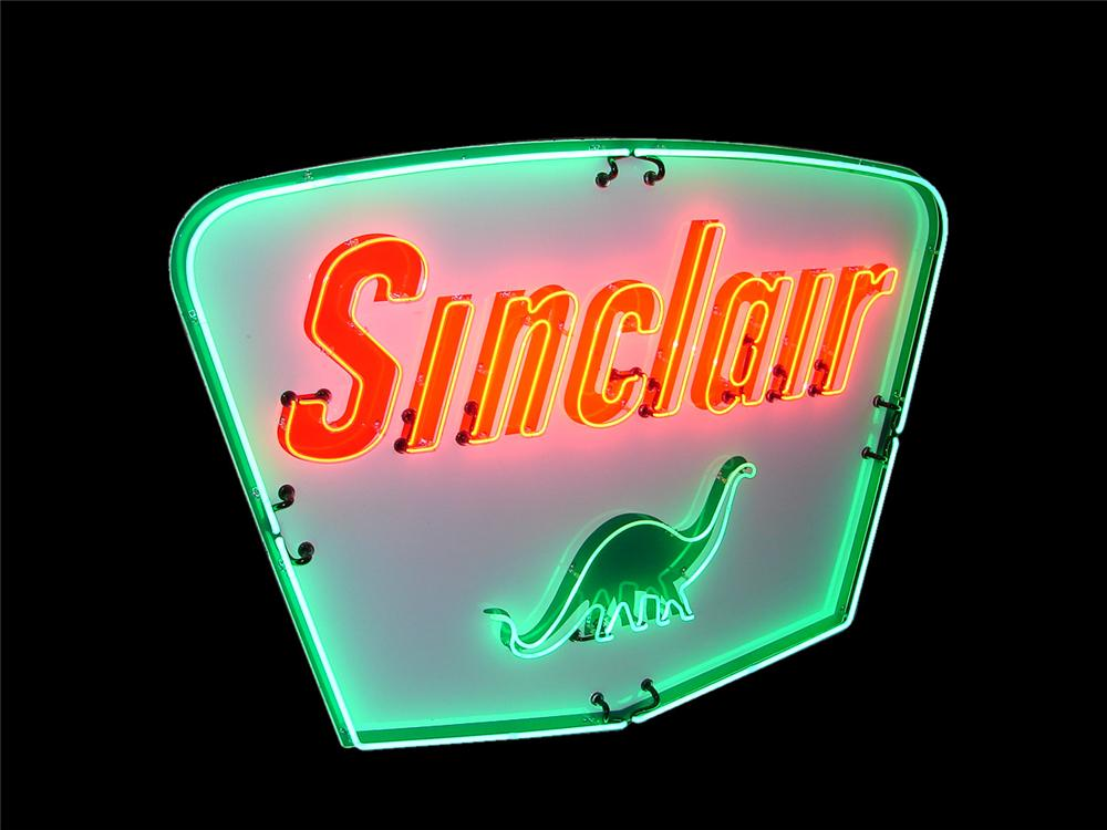 Highly desirable 1950s Sinclair Gasoline single-sided porcelain service station sign with animated neon. - Front 3/4 - 116607