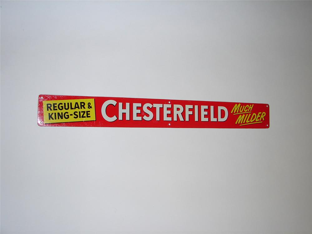 N.O.S. 1950s Chesterfield Regular and King Size Cigarettes tin general store sign. - Front 3/4 - 116613