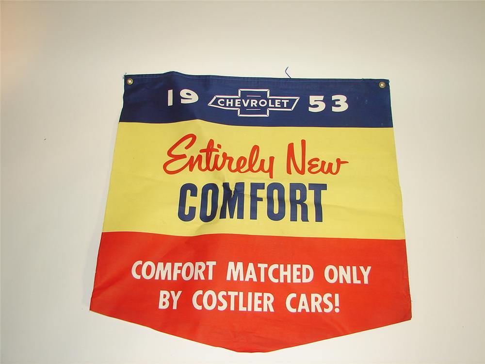 """N.O.S. 1953 Chevrolet """"Entirely New Comfort"""" dealership showroom canvas banner. - Front 3/4 - 116617"""