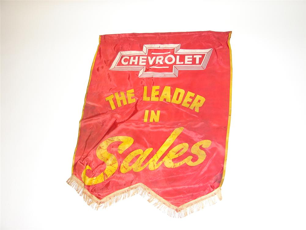 "Nifty 1930s Chevrolet ""The Leader in Sales"" dealership showroom silk banner. - Front 3/4 - 116623"