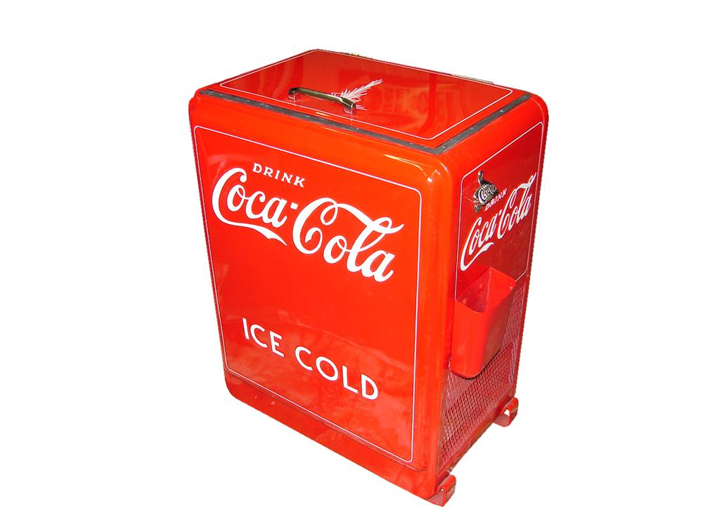 Tremendous 1930s Coca-Cola Westinghouse filling station refrigerated electric soda cooler. - Front 3/4 - 116625