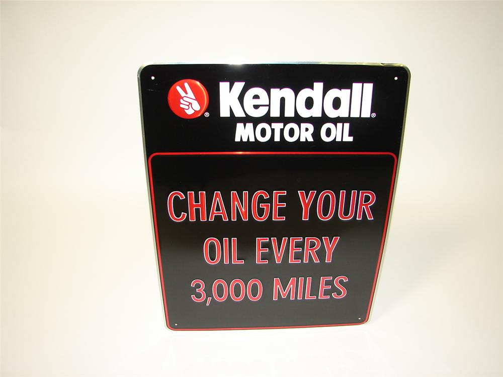 """N.O.S. Kendall Motor Oil """"Change Your Oil"""" embossed tin garage sign. - Front 3/4 - 116636"""