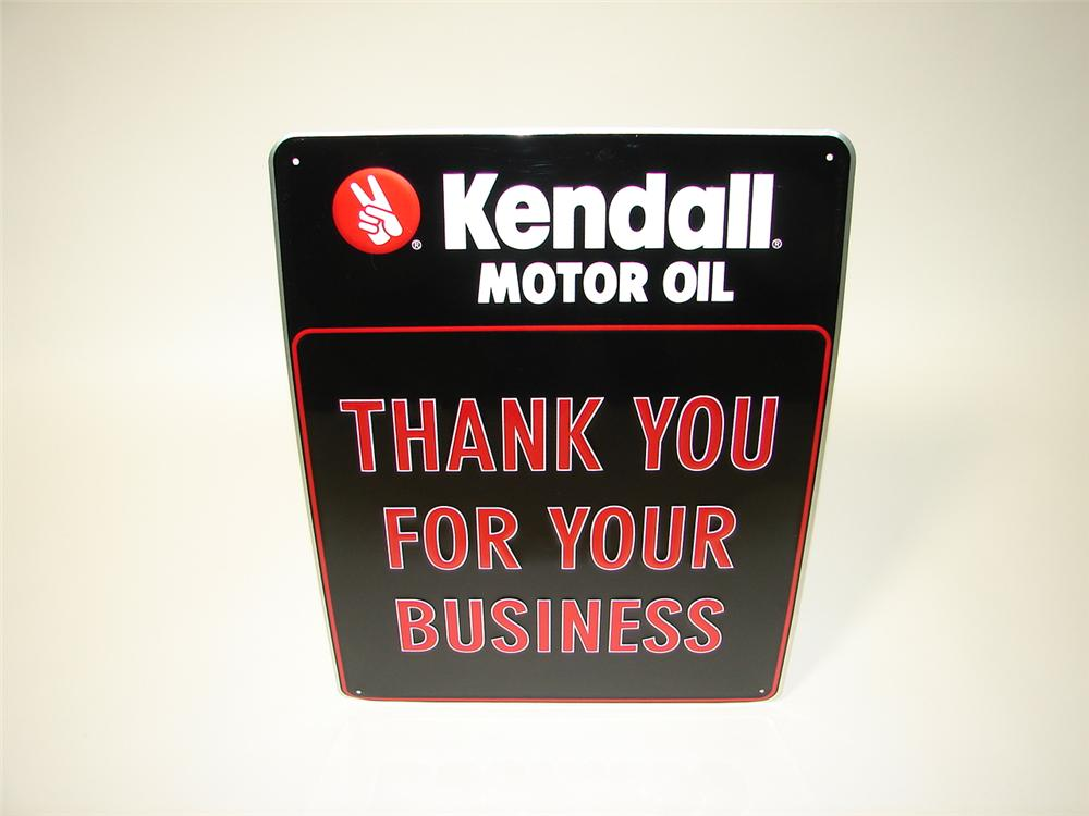 """N.O.S. Kendall Motor Oil """"Thank You For Your Business"""" embossed tin garage sign. - Front 3/4 - 116638"""