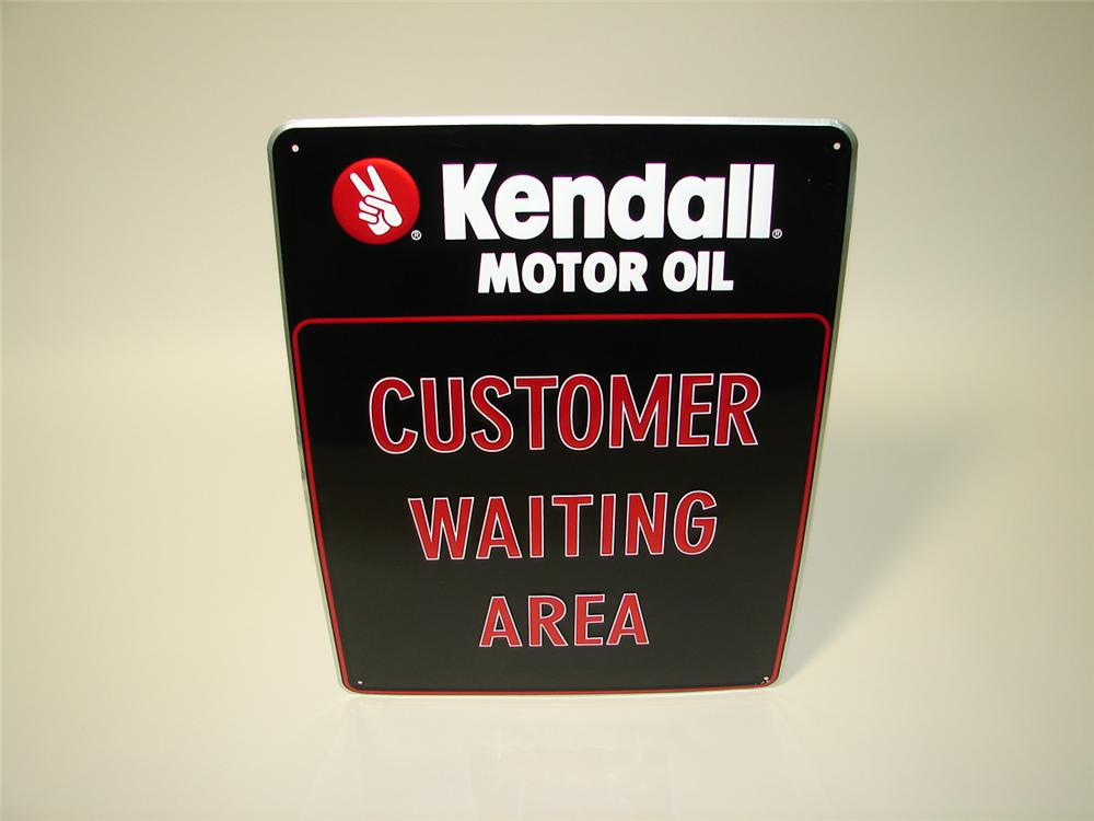 """N.O.S. Kendall Motor Oil """"Customer Waiting Area"""" embossed tin garage sign. - Front 3/4 - 116639"""