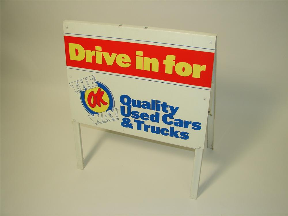 1970s Chevrolet OK Used Cars double-sided curb sign. - Front 3/4 - 116644