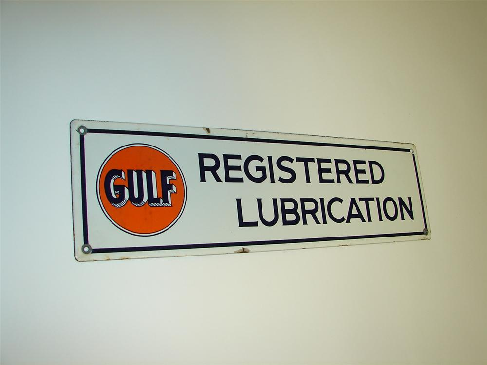 1930s-40s Gulf Oil Registered Lubrication single-sided porcelain service station sign. - Front 3/4 - 116652