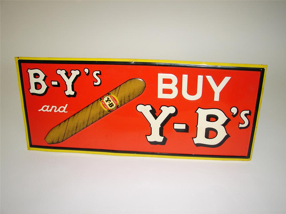 N.O.S. 1930s B-Ys Buy Y-Bs embossed tin garage sign with nice graphics and colors. - Front 3/4 - 116658