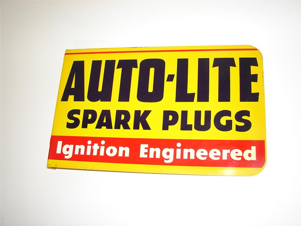 Sharp N.O.S. 1950s Auto-Lite Spark Plugs double-sided tin garage sign. - Front 3/4 - 116663