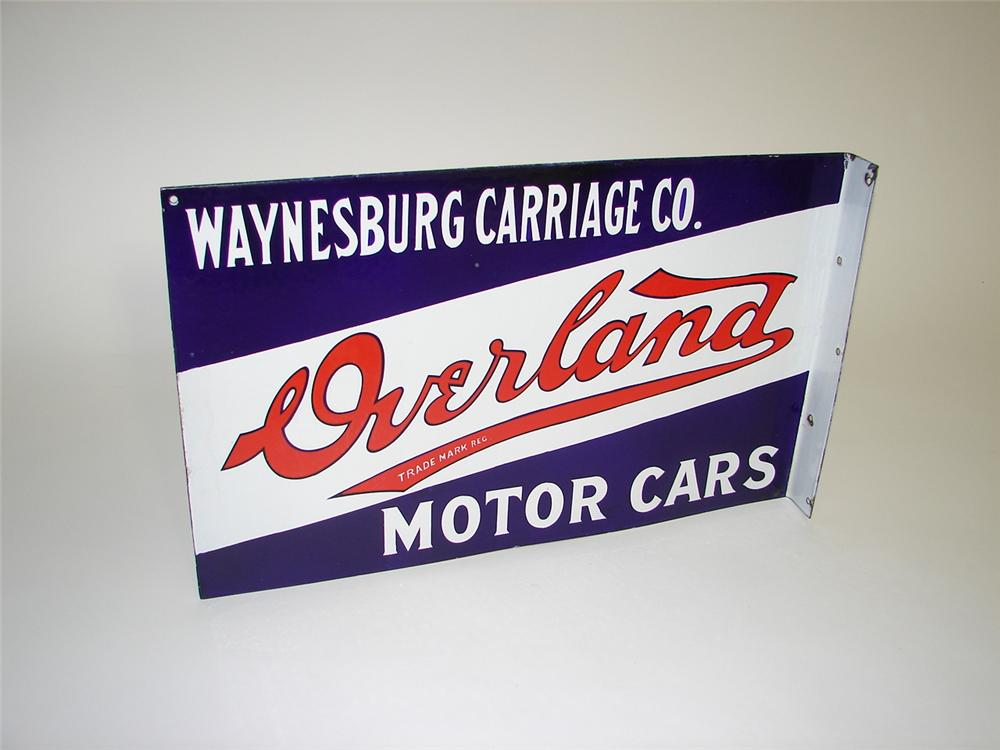 Impressive 1917 Overland Motor Cars - Waynesburg Carriage Company double-sided porcelain garage flange sign. - Front 3/4 - 116664