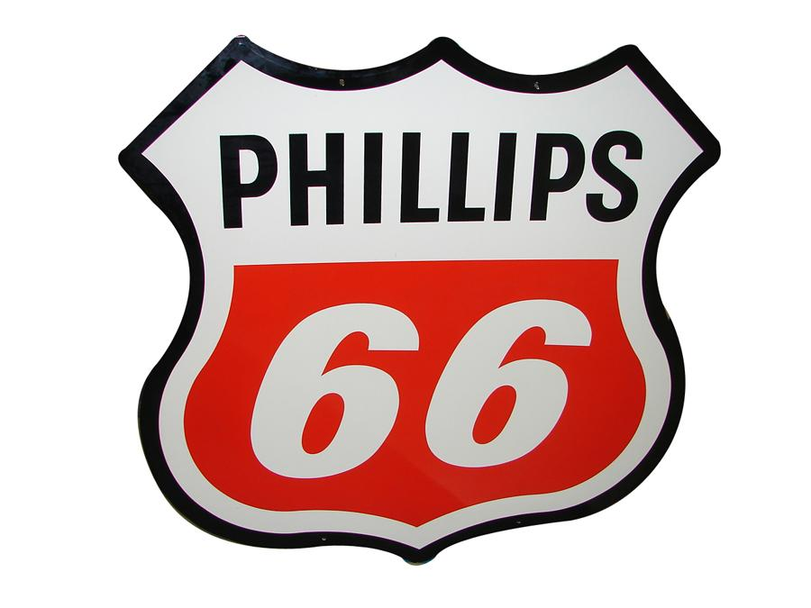 Near perfect large Phillips 66 double-sided shield shaped porcelain service station sign. - Front 3/4 - 116667