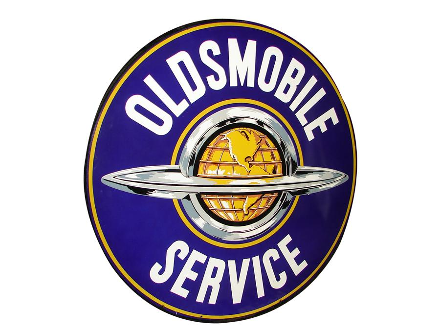 Near perfect 1950s Oldsmobile double-sided porcelain garage sign with Olds-Globe logo. - Front 3/4 - 116671
