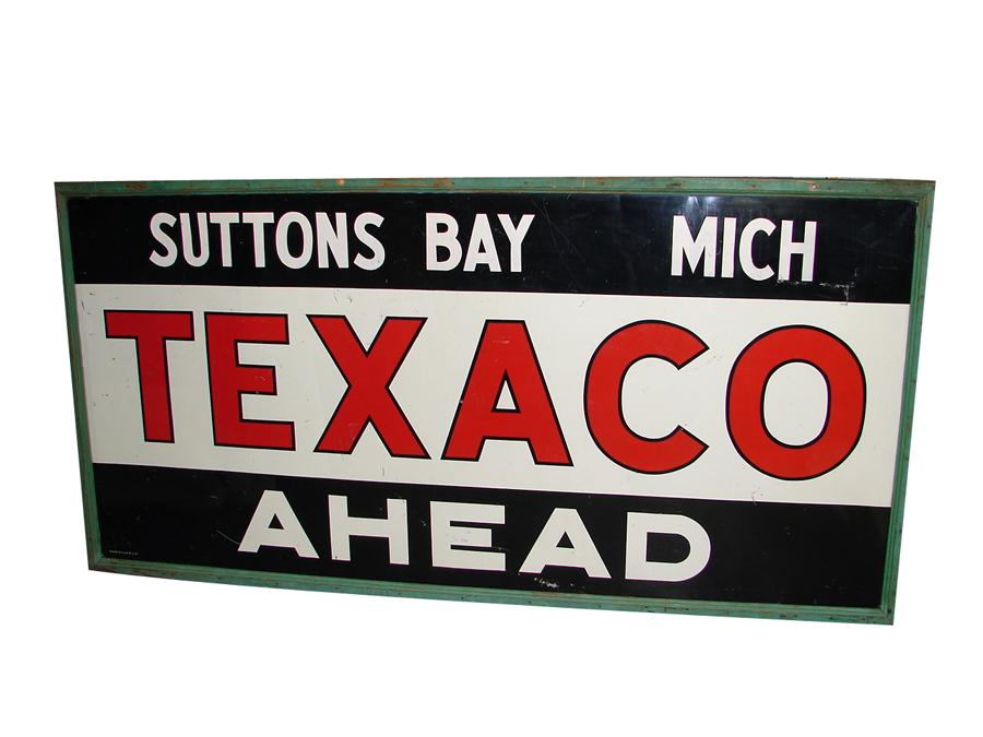 Large 1937 Texaco Ahead wood framed service station garage sign from Suttons Bay - Upper Peninsula Michigan. - Front 3/4 - 116673