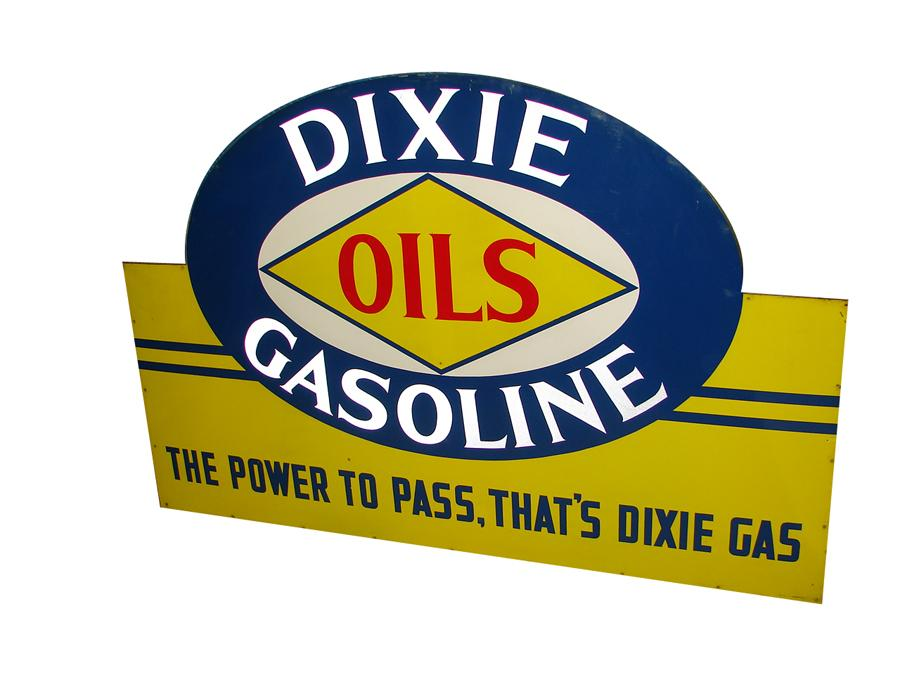 Stunning N.O.S. 1930s Dixie Gasoline Power to Pass tin painted wood framed garage sign. - Front 3/4 - 116674