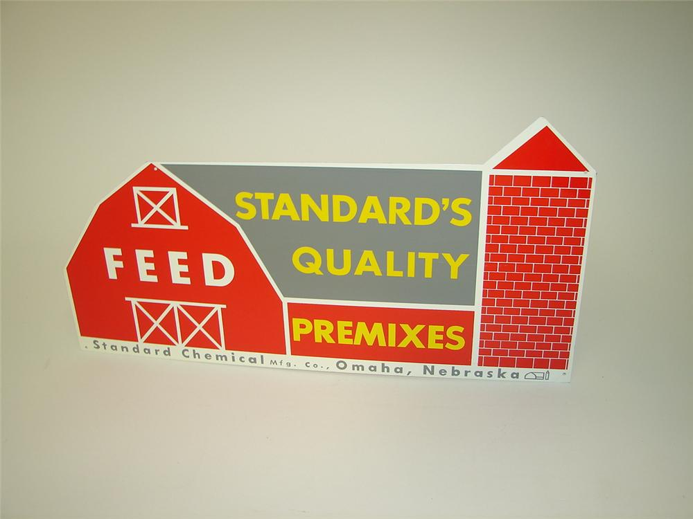 N.O.S. 1950s Standard Feed die-cut tin barn shaped sign. - Front 3/4 - 116683