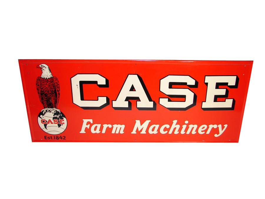 Superlative N.O.S. 1941 Case Tractors horizontal tin embossed dealership sign with Case Eagle graphic. - Front 3/4 - 116686