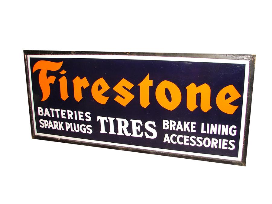 Large N.O.S. 1930s Firestone Tires wood framed horizontal porcelain dealership sign. - Front 3/4 - 116687