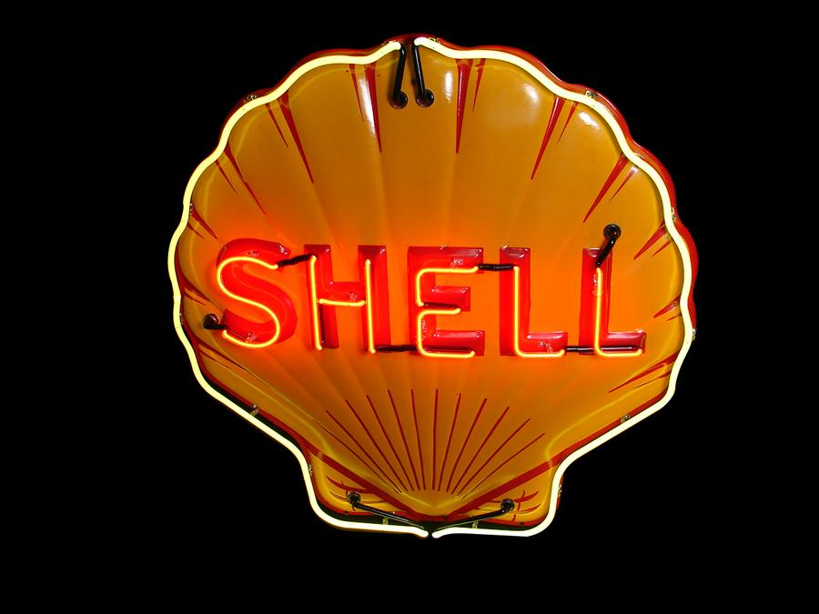 Absolutely gorgeous 1930s Shell Oil embossed three-dimensional neon porcelain service station. - Front 3/4 - 116701