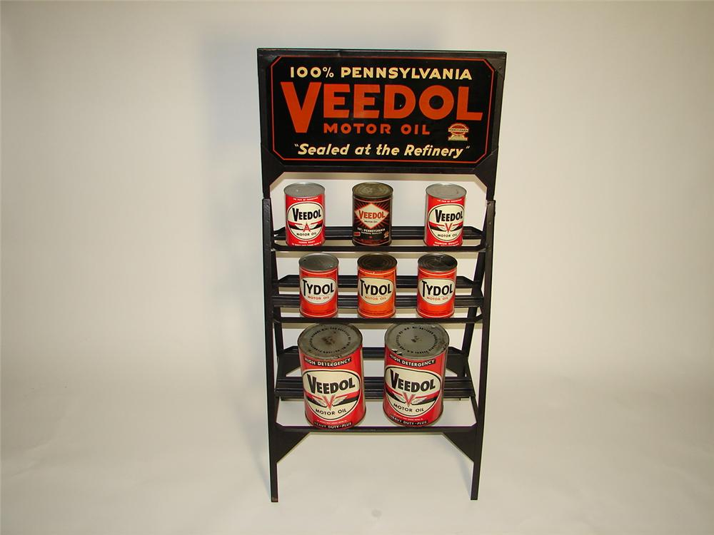 Stupendous N.O.S. 1930s Veedol Motor Oil automotive garage double-sided display rack filled with period cans. - Front 3/4 - 116705