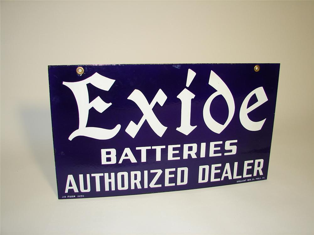 Exceptional 1930s Exide Batteries double-sided porcelain garage sign. - Front 3/4 - 116709
