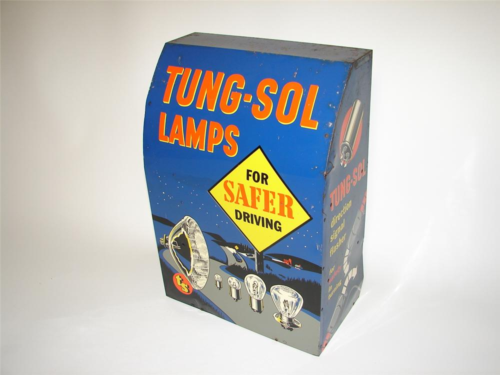 Killer 1940s Tung-Sol Lamps automotive garage counter-top display cabinet with phenomenal graphics. - Front 3/4 - 116712