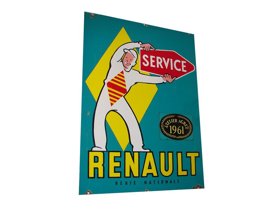Impossible to find 1950s Renault Service double-sided porcelain dealership sign. - Front 3/4 - 116718