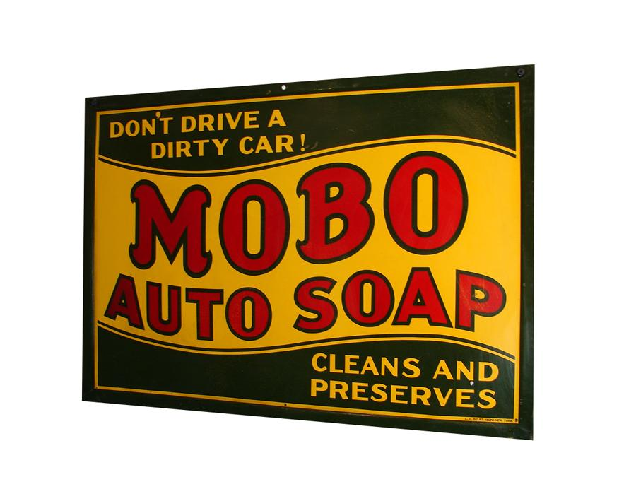 Late 1920s-30s Mobo Auto Soap single-sided self-framed tin garage sign. - Front 3/4 - 116719