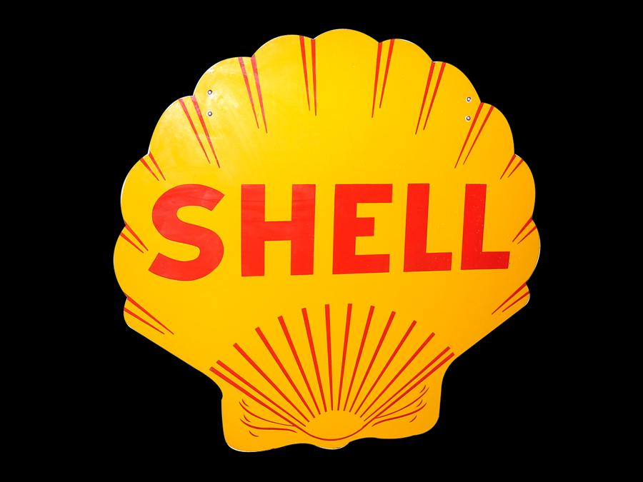 Immaculate N.O.S. 1930s Shell Oil double-sided porcelain scalloped service station sign.  The cleanest example we have ever ... - Front 3/4 - 116723