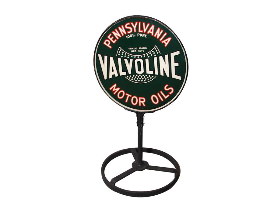 Nearly impossible to find 1930s Valvoline Pennsylvania Motor Oils double-sided tin painted curb sign in original stand. - Front 3/4 - 116725