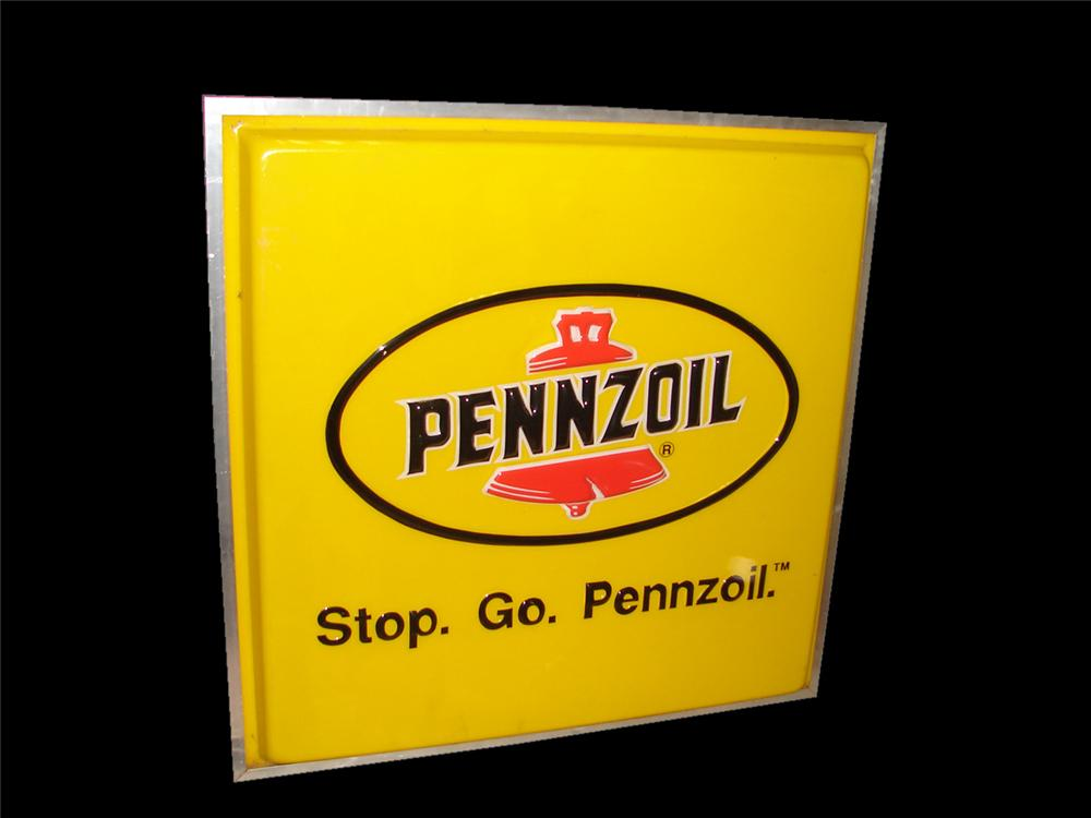"""Large Stop-Go Pennzoil"""" single-sided light-up garage sign. - Front 3/4 - 116731"""