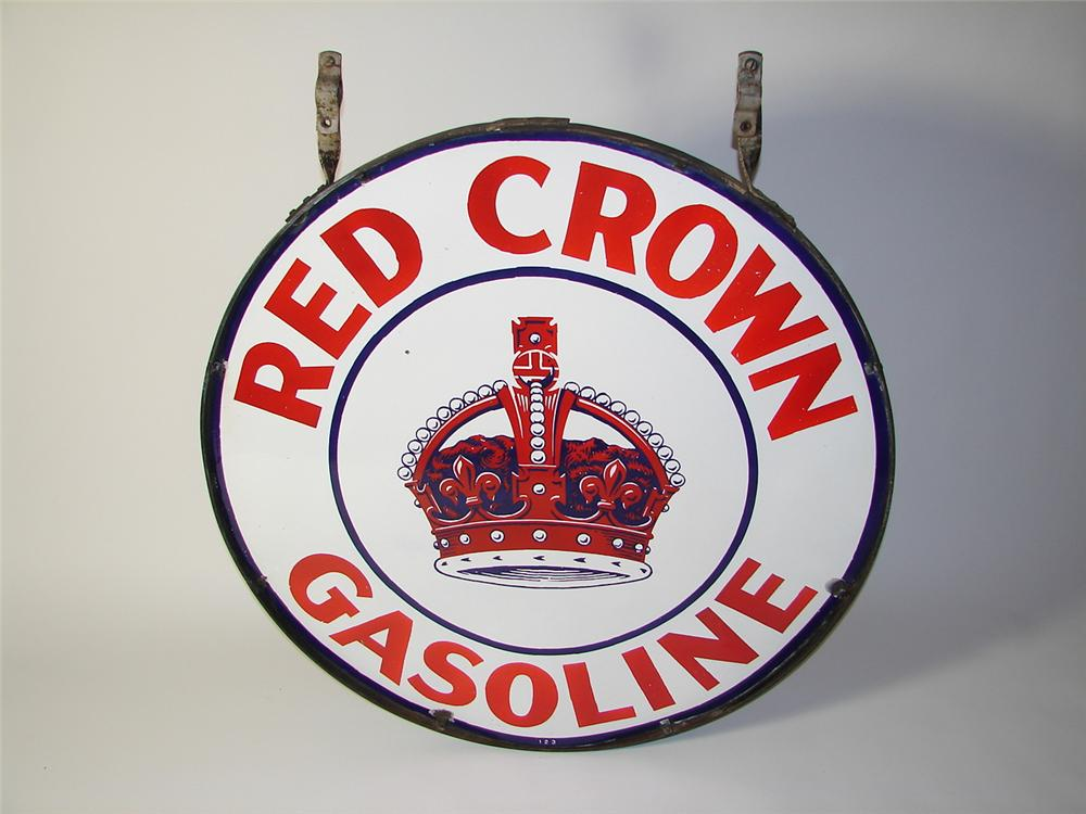 Fantastic 1930s Standard Oil Red Crown Gasoline single-sided porcelain service station sign with early crown logo. - Front 3/4 - 116734