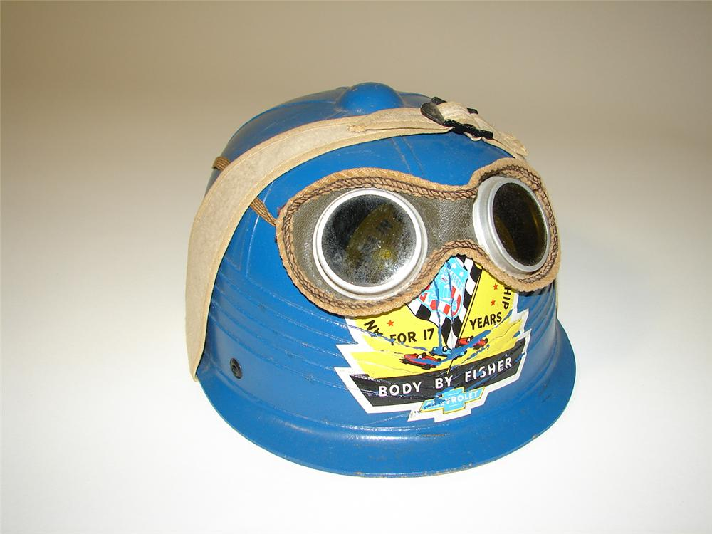 1950s Chevy Soap Box Derby race helmet with hard to find original goggles. - Front 3/4 - 116742