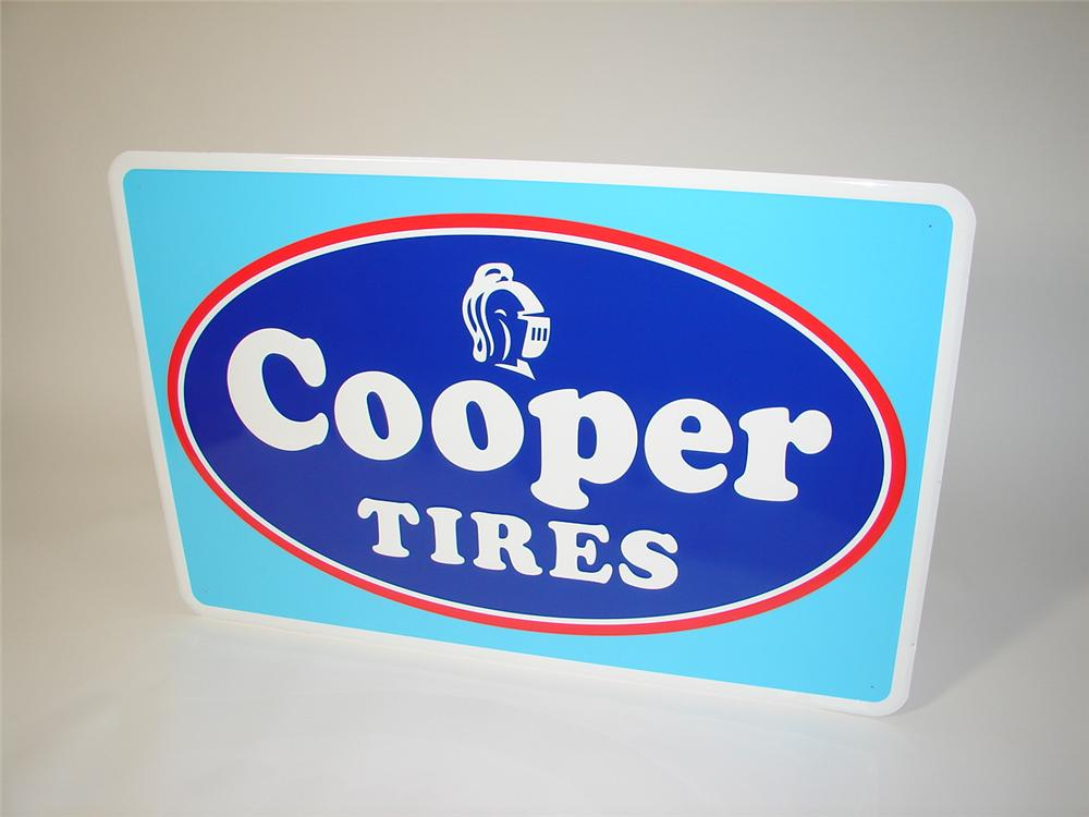 N.O.S. Cooper Tires horizontal tin garage sign. Pulled out of the original shipping sleeve. - Front 3/4 - 116743