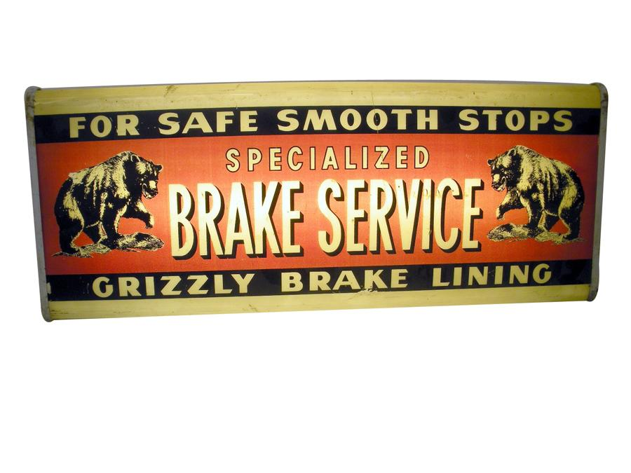 Circa late 40s-early 50s Grizzly Brake Lining light-up garage sign with killer grizzly bear graphics. - Front 3/4 - 116817