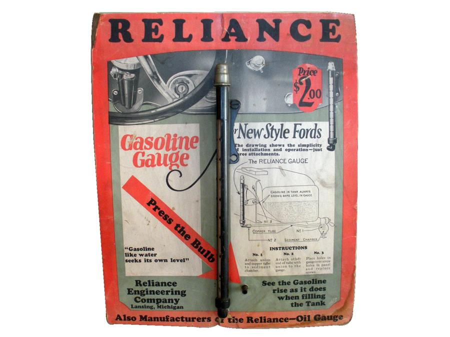 1920s Reliance Gasoline Gauge for Fords automotive garage counter-top cardboard display. - Front 3/4 - 116820